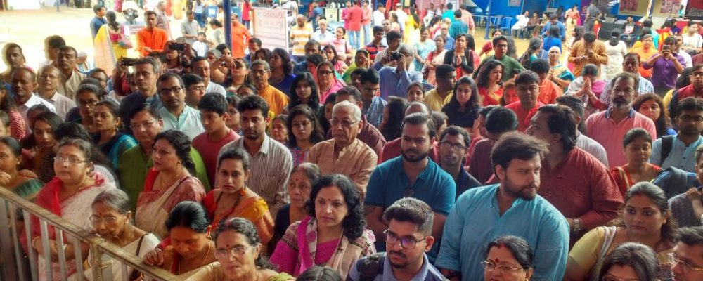 Well managed crowd at BARSHA Durga Puja in Bangalore