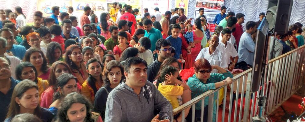 Well Managed Crowd during Durga Puja at HSR Layout in Bangalore - Organised by BARSHA